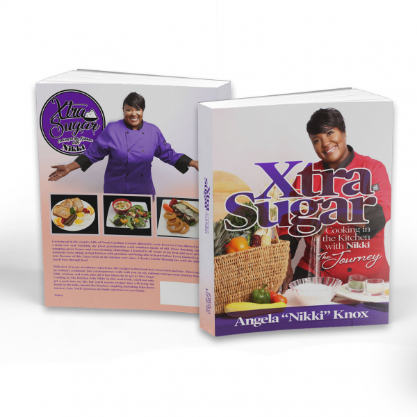 mockup of XtraSugar book front and back on white background