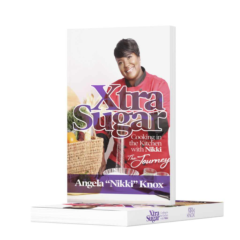 mockup of XtraSugar book, one standing, one lying with no background