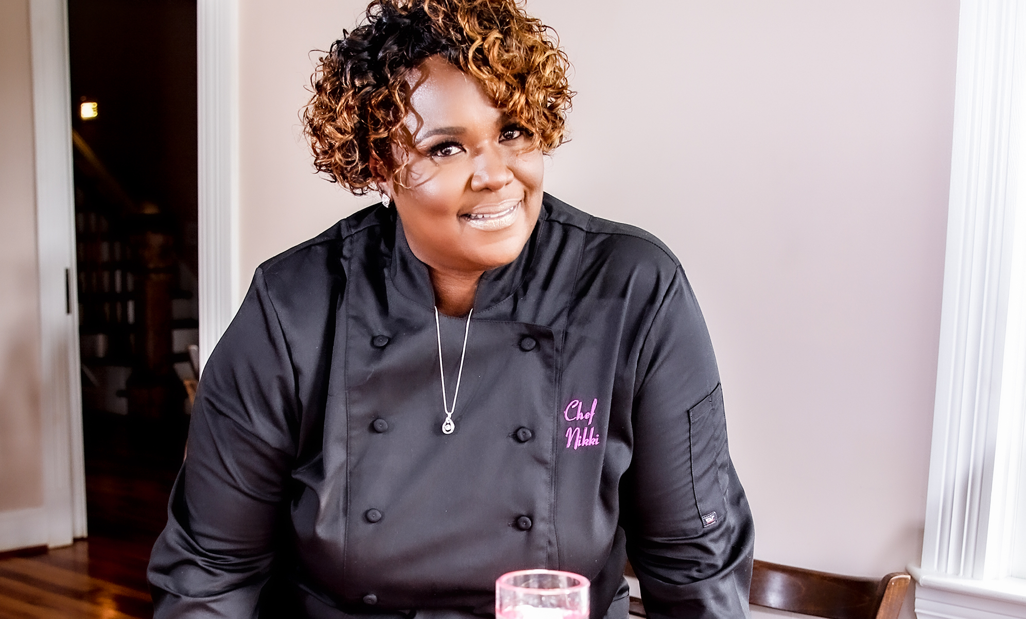 Chef Nikki in the black chef jacket