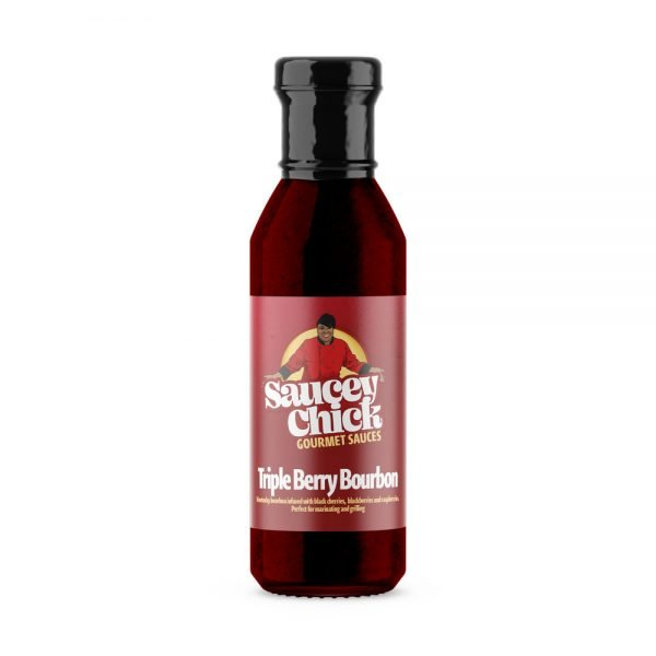 Saucey Chick Triple Berry Bourbon sauce bottle with no background