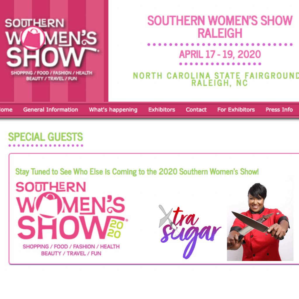 flyer of Southern Women's Show with Chef Nikki and XtraSugar featured as a Special Guest