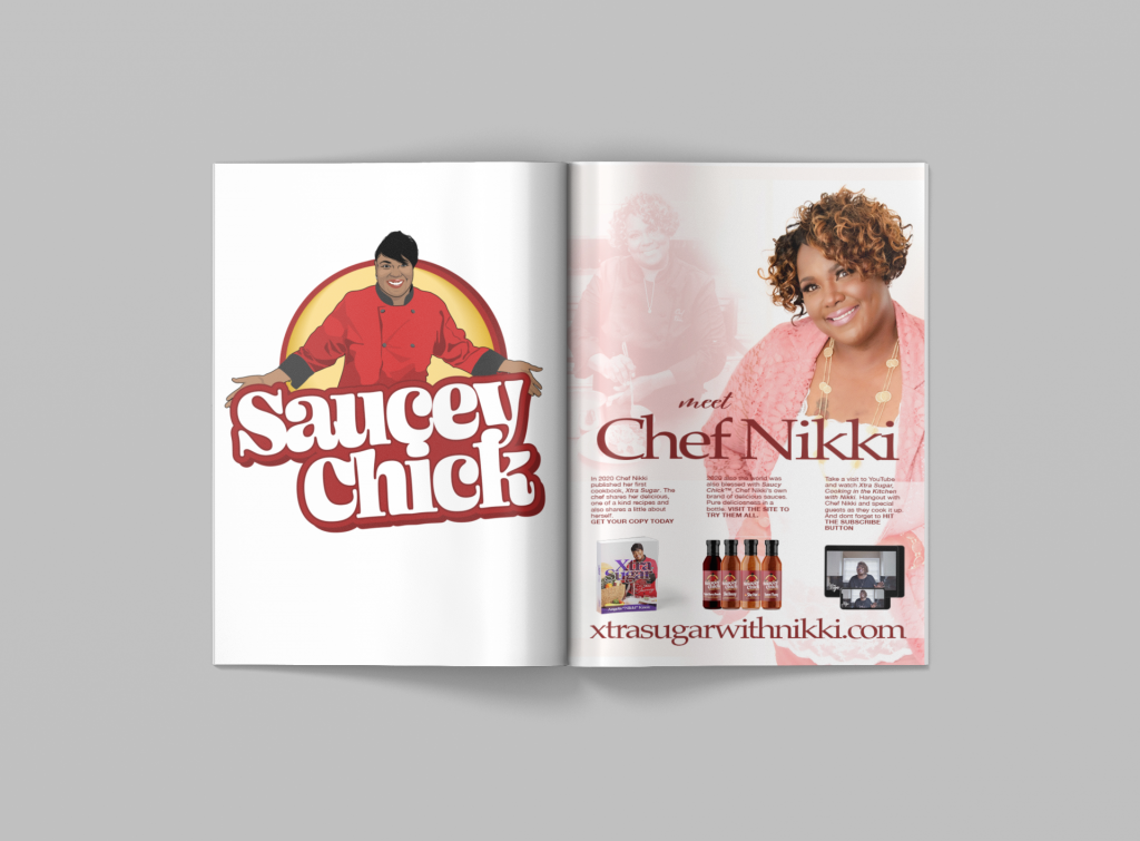 mockup of a magazine featuring a beautiful ad showcasing Chef Nikki and her products and brands